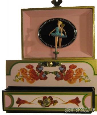 Mauve Spieldose für Erwachsene mit tanzender Ballerina