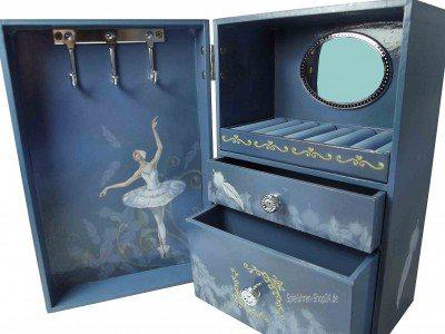 Schwanensee Spieluhr-Schmuckschrank blau