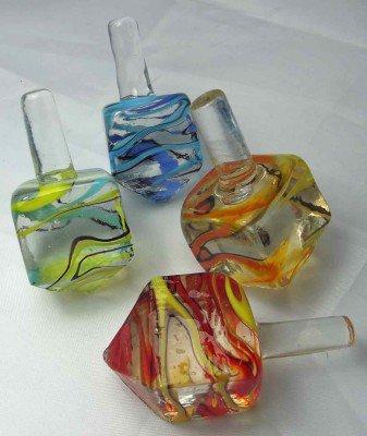 Glas-Kreisel eckig, 5 cm - 4fach sortiert
