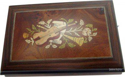 Kleine Schatulle Spieluhr mit Intarsien Instrumente und Blumen