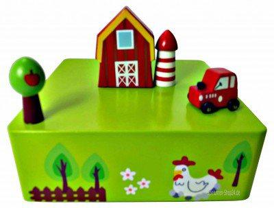 Bauernhof Holz Spieluhr mit fahrendem Auto