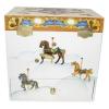 Spieluhr Karussell mit sich drehendem Pferd, Ansicht Rückseite geschlossen mit Aufziehmechanismus