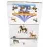 Spieluhr Karussell mit sich drehendem Pferd, Ansicht Rückseite geöffnete Spieldose mit herausgezogener Schublade