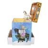 Spieluhr Karussell mit sich drehendem Pferd, Seitenansicht geöffnete Spieldose mit herausgezogenen Schubladen