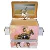 Spieluhr Karussell mit sich drehendem Pferd, geöffnete Spieldose Ansicht von oben vorn mit herausgezogenen Schubladen