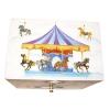 Spieluhr Karussell mit sich drehendem Pferd, Ansicht von oben mit Karussellmotiv