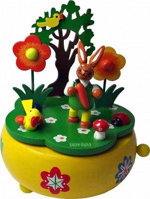 Hase mit Blumen, Holz Spieluhr