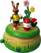 Hase mit Ei, Holz Spieluhr