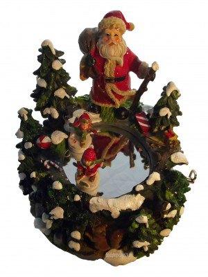 Weihnachts Spieluhr Santa Claus mit Schlittschuhläufern