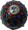 Schmuckei Rot Gruen Blau mit Miniatur Spieluhr im Stil Fabergé, Kuppel mit glasfarbenem Zierstein