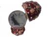 Schmuckei dunkelrot mit Rosenranken und Spieluhr,geöffnete Ansicht von oben auf Schmuckfach