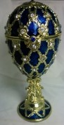 Schmuckei Fabergè Stil und Spieluhr blau, Gittermuster