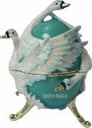 Schmuckei Fabergè Stil türkis mit Schwan / Schwanensee