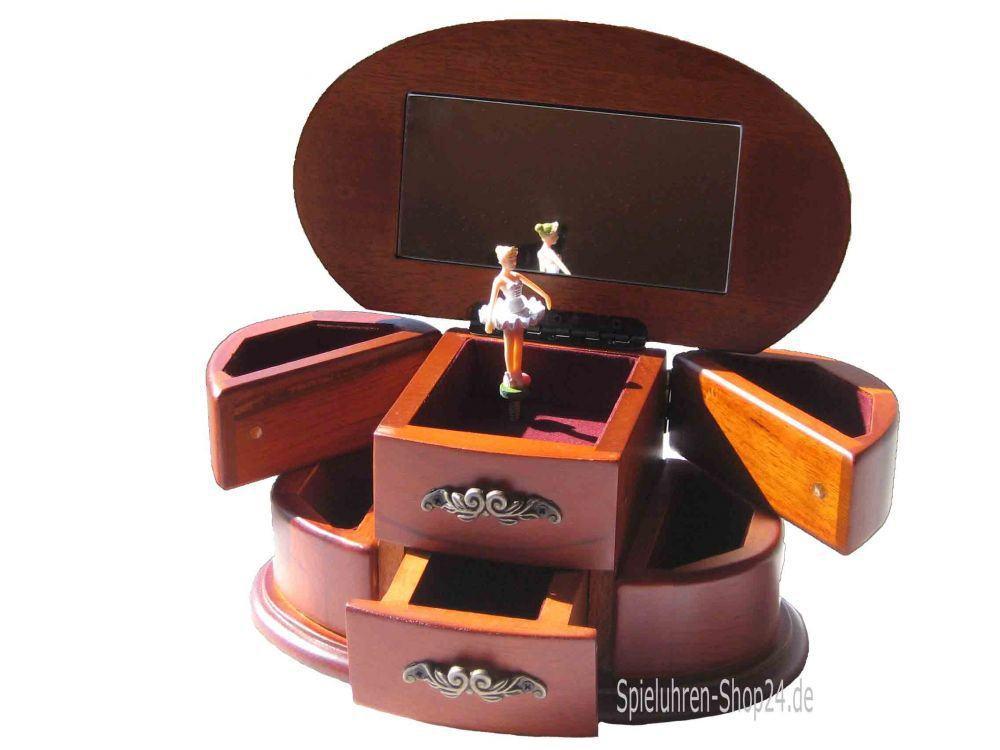 holz schmuckschatulle oval mit ballerina spieluhren. Black Bedroom Furniture Sets. Home Design Ideas
