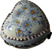 Pillendose blaue Blumen aus Porzellan mit Miniatur-Spieluhr