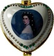 Pillendose Barockbild aus Porzellan mit Miniatur-Spieluhr