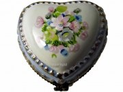 """Pillendose Porzellan """"Frühlingsblumen"""" mit Miniatur-Spieluhr"""