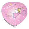 Spieluhr in Herzform kleine Prinzessin, Ansicht auf Deckel der geschlossenen Spieldose