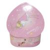 Spieluhr in Herzform kleine Prinzessin, Ansicht Rückseite auf geöffnete Spieldose mit Aufziehmechanismus