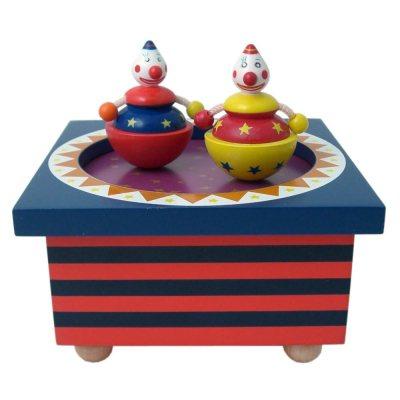 "Musikdose Holz ""Zirkus"" mit tanzendem Clown, Trousselier"
