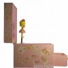 Zartrosa Spieluhr mit Sternenfee, Ansicht Seite, Spieldose und Schublade geöffnet